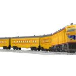 #1464W UNION PACIFIC ANNIVERSARY PASSENGER SET (CONV ALCO AA DIESEL #2023)  Set Includes #2023 U.P. Alco Powered A #2023 U.P. Alco Non-powered A #2481 Plainfield Pullman coach #2482 Westfield Pullman coach #2483 Livingston Observation car Each car individually boxed Postwar-inspired packaging